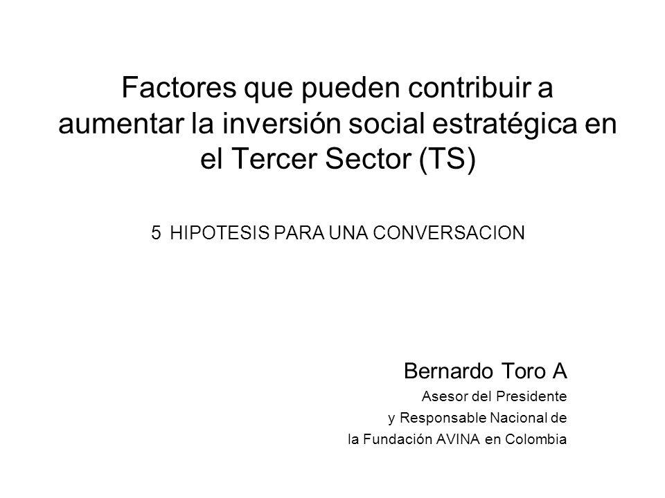 Factores que pueden contribuir a aumentar la inversión social estratégica en el Tercer Sector (TS) 5 HIPOTESIS PARA UNA CONVERSACION Bernardo Toro A Asesor del Presidente y Responsable Nacional de la Fundación AVINA en Colombia