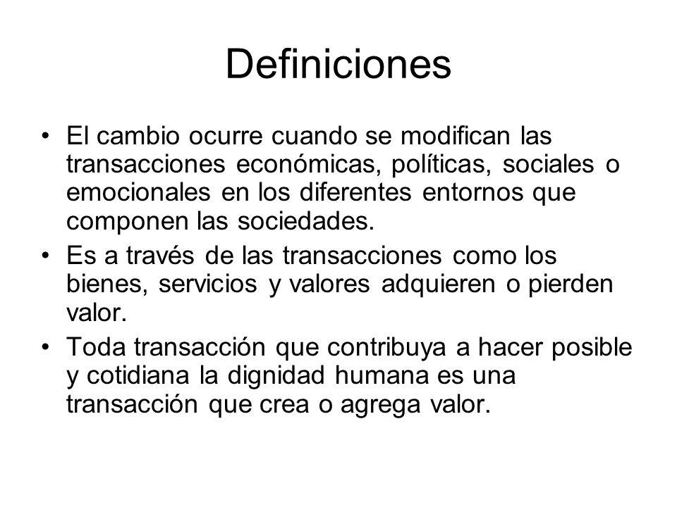 Definiciones El cambio ocurre cuando se modifican las transacciones económicas, políticas, sociales o emocionales en los diferentes entornos que componen las sociedades.