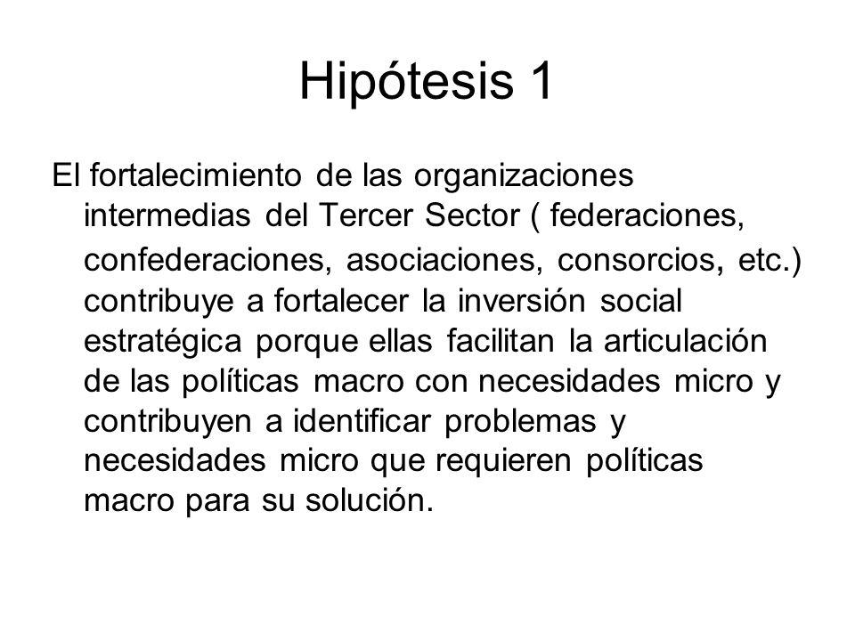 Hipótesis 1 El fortalecimiento de las organizaciones intermedias del Tercer Sector ( federaciones, confederaciones, asociaciones, consorcios, etc.) co