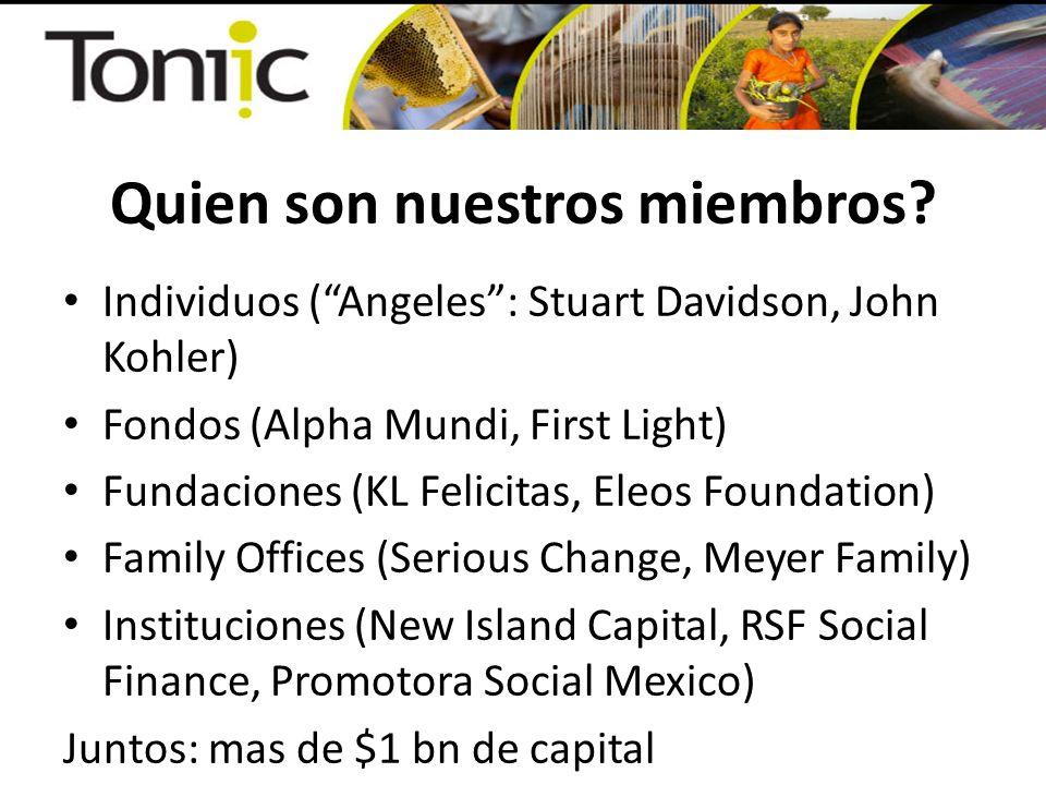 Sigiendo la conversacion… Morgan Simon, CEO, Toniic, a sus ordenes morgan.simon@toniic.com 001.310.617.8881 San Francisco, California Skype: MorganSimon En Colombia hasta el 3 de Febrero