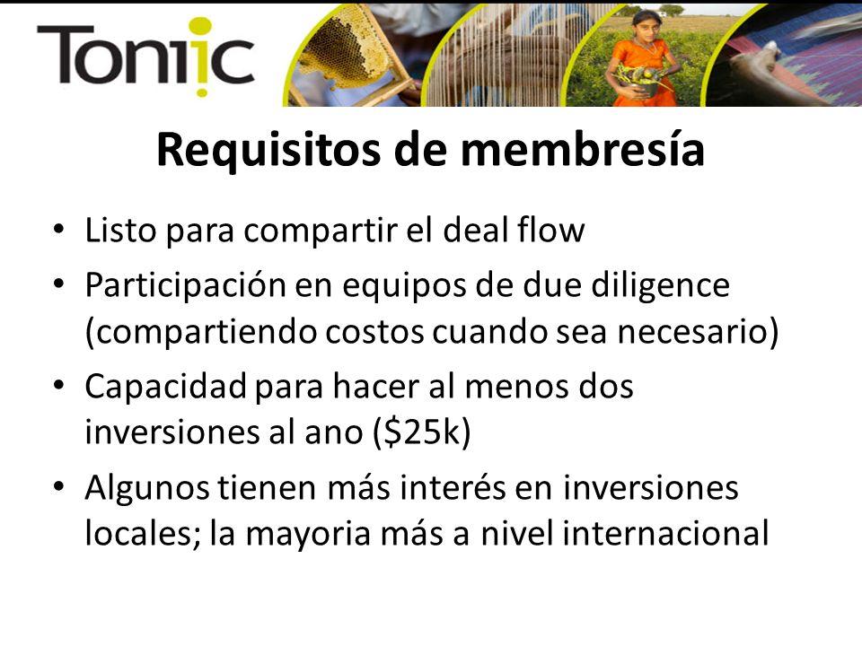 Requisitos de membresía Listo para compartir el deal flow Participación en equipos de due diligence (compartiendo costos cuando sea necesario) Capacidad para hacer al menos dos inversiones al ano ($25k) Algunos tienen más interés en inversiones locales; la mayoria más a nivel internacional