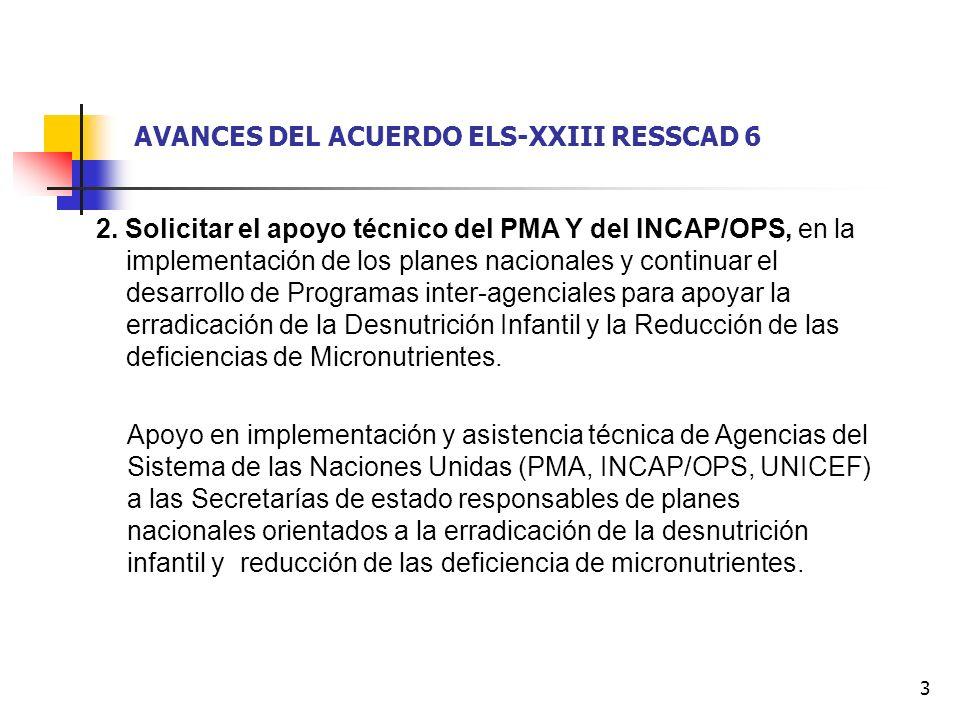 3 2. Solicitar el apoyo técnico del PMA Y del INCAP/OPS, en la implementación de los planes nacionales y continuar el desarrollo de Programas inter-ag