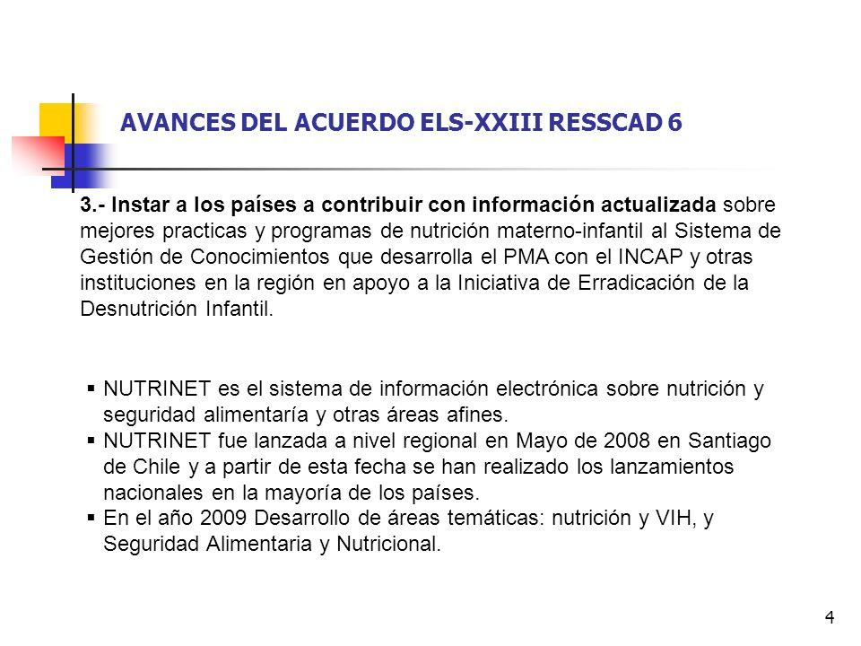 5 AVANCES DEL ACUERDO ELS-XXIII RESSCAD 6 4.- Solicitar al PMA continuar con su rol de abogacía y apoyo hacia la Iniciativa Hacia la Erradicación de la Desnutrición Infantil en C.A.