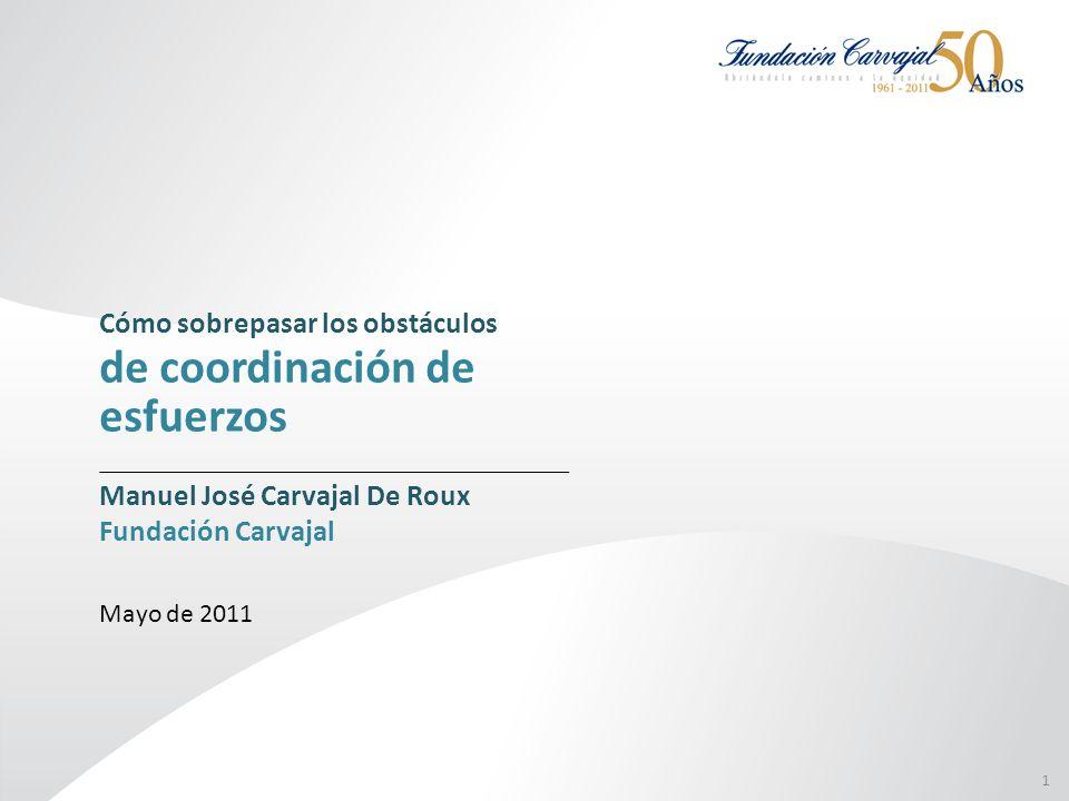 1 Cómo sobrepasar los obstáculos de coordinación de esfuerzos Manuel José Carvajal De Roux Fundación Carvajal Mayo de 2011