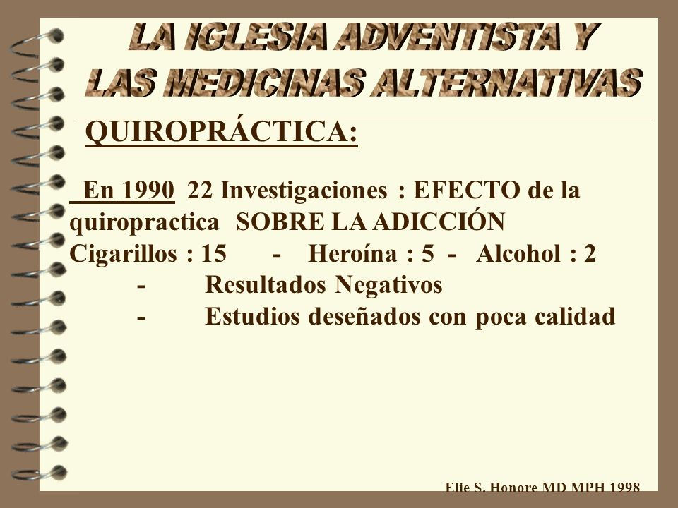 Elie S. Honore MD MPH 1998 QUIROPRÁCTICA