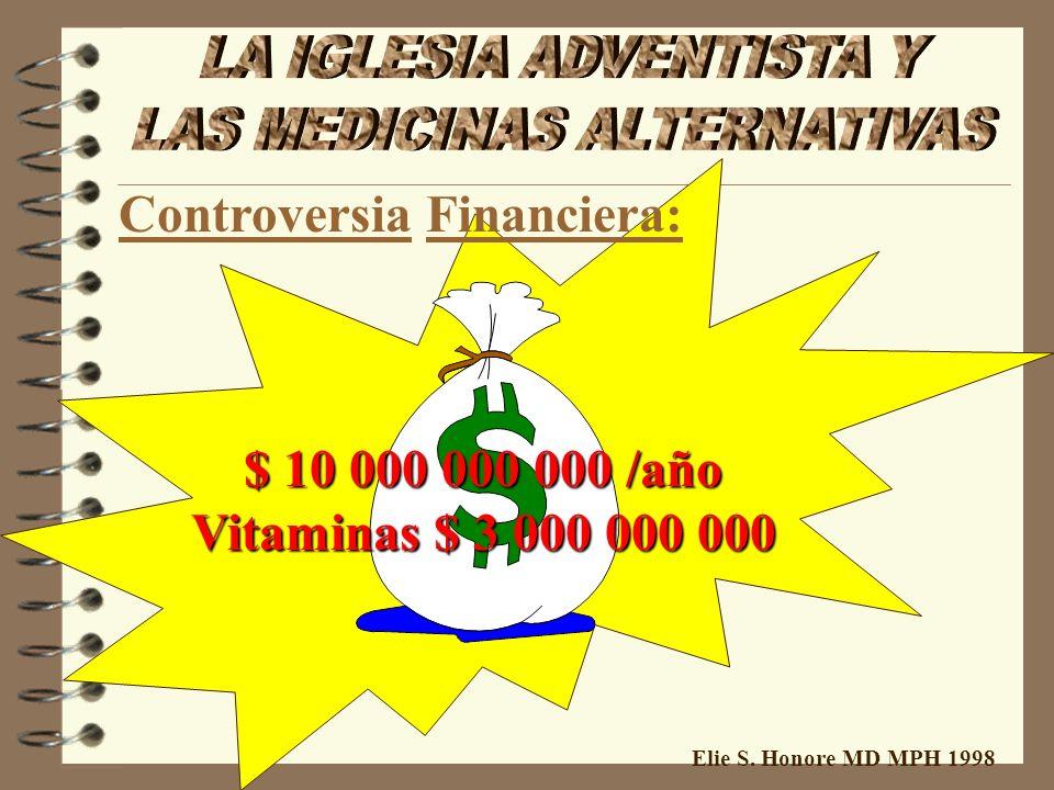 Elie S. Honore MD MPH 1998 $ 10 000 000 000 /año Vitaminas $ 3 000 000 000 Controversia Financiera: