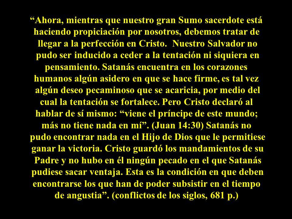Ahora, mientras que nuestro gran Sumo sacerdote está haciendo propiciación por nosotros, debemos tratar de llegar a la perfección en Cristo. Nuestro S
