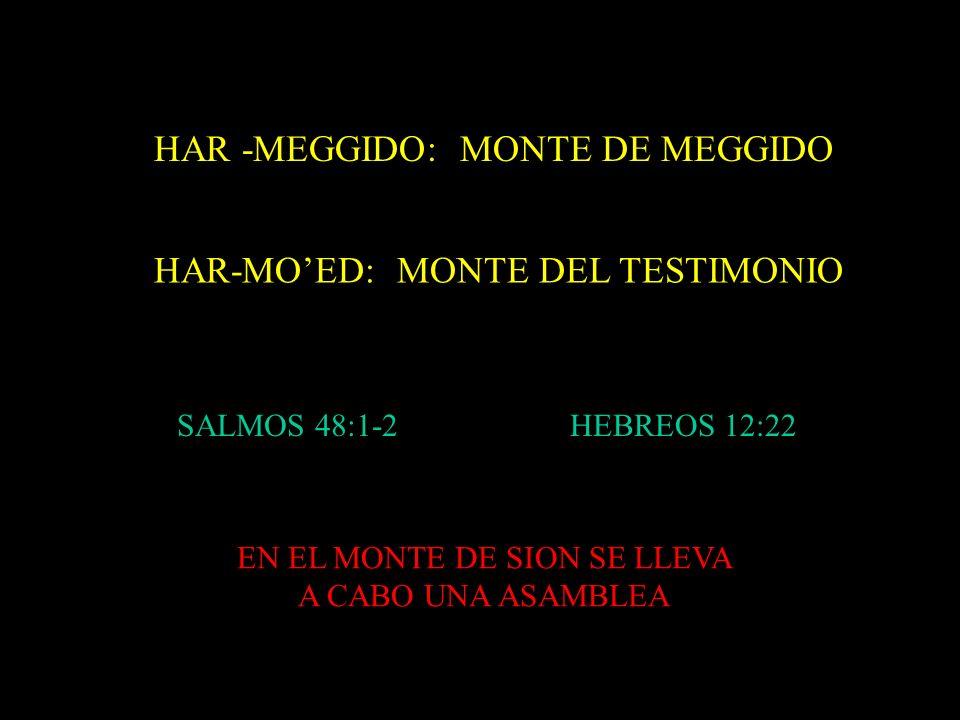 HAR-MOED: MONTE DEL TESTIMONIO HAR -MEGGIDO: MONTE DE MEGGIDO SALMOS 48:1-2HEBREOS 12:22 EN EL MONTE DE SION SE LLEVA A CABO UNA ASAMBLEA