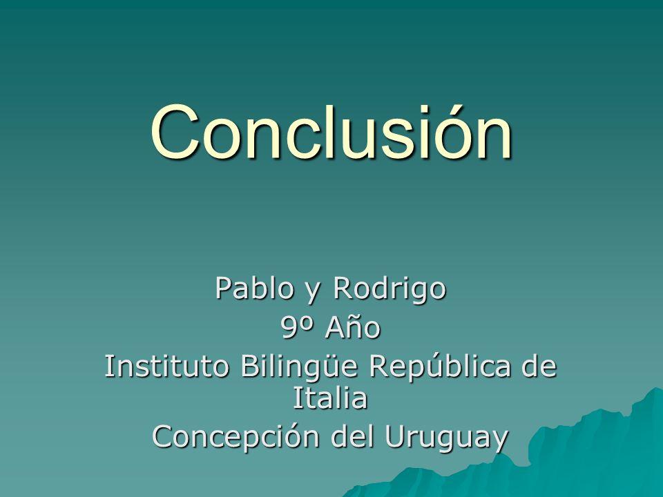 Conclusión Pablo y Rodrigo 9º Año Instituto Bilingüe República de Italia Concepción del Uruguay