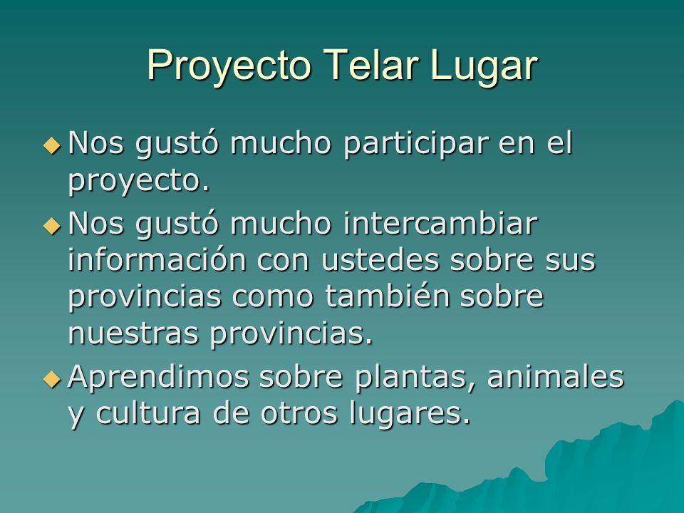 Proyecto Telar Lugar Nos gustó mucho participar en el proyecto. Nos gustó mucho participar en el proyecto. Nos gustó mucho intercambiar información co