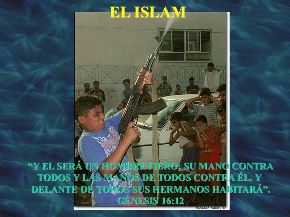 EL ISLAM Y EL SERÁ UN HOMBRE FIERO; SU MANO CONTRA TODOS Y LAS MANOS DE TODOS CONTRA ÉL, Y DELANTE DE TODOS SUS HERMANOS HABITARÁ. GÉNESIS 16:12