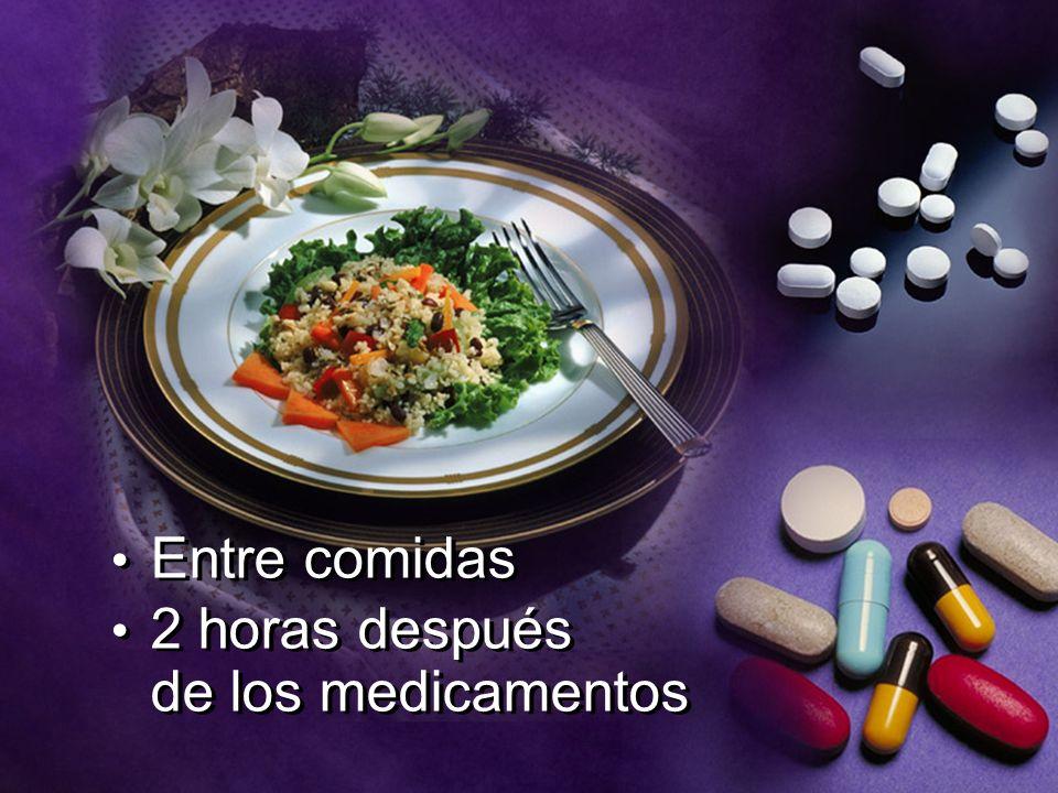 Entre comidas 2 horas después de los medicamentos Entre comidas 2 horas después de los medicamentos