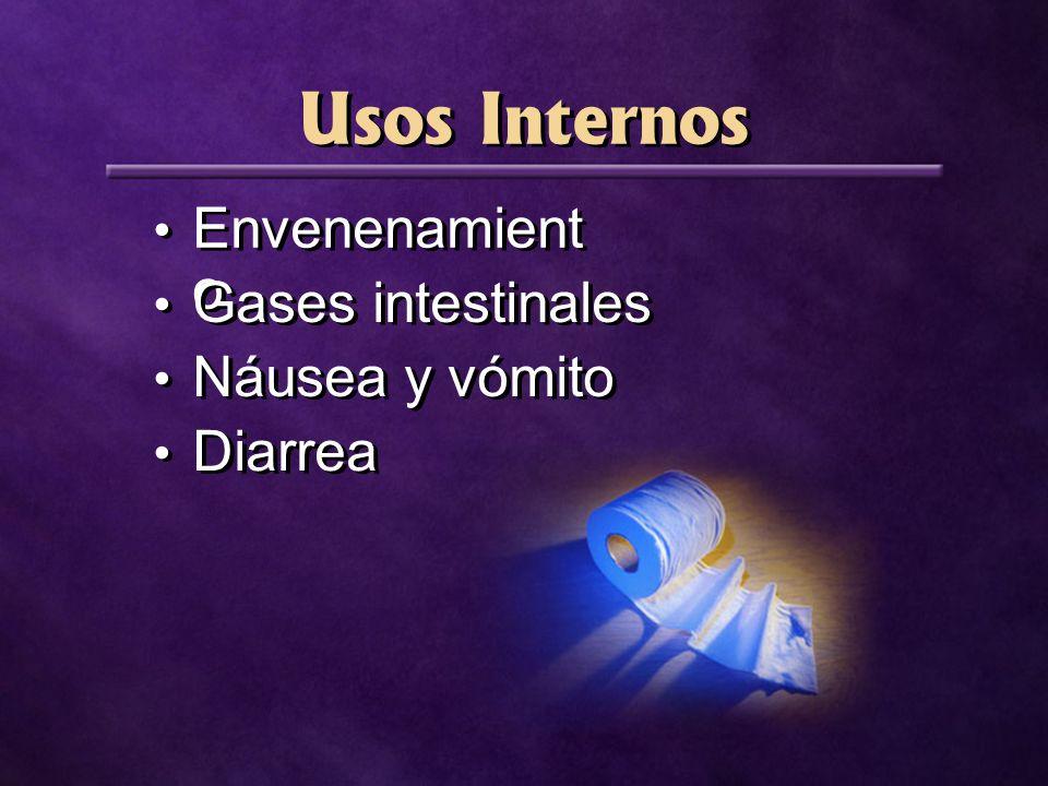Usos Internos Envenenamient o Gases intestinales Náusea y vómito Diarrea
