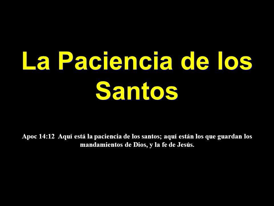 La Paciencia de los Santos La Paciencia de los Santos Apoc 14:12 Aquí está la paciencia de los santos; aquí están los que guardan los mandamientos de