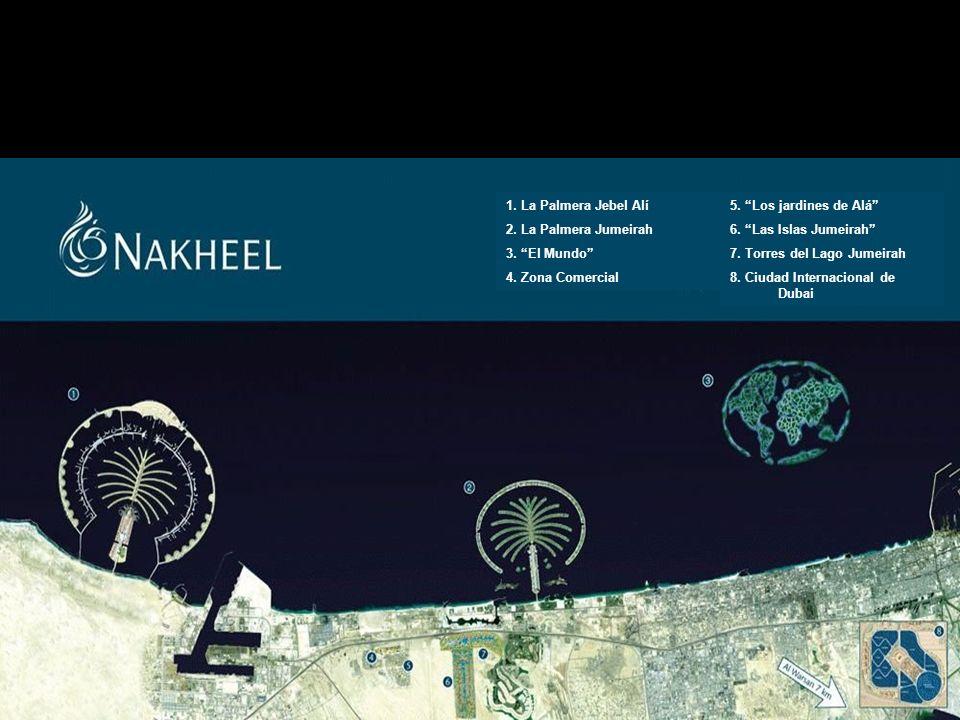 Este es un plano con el desarrollo global de la zona: Marina Dubai 5. Los jardines de Alá 6. Las Islas Jumeirah 7. Torres del Lago Jumeirah 8. Ciudad