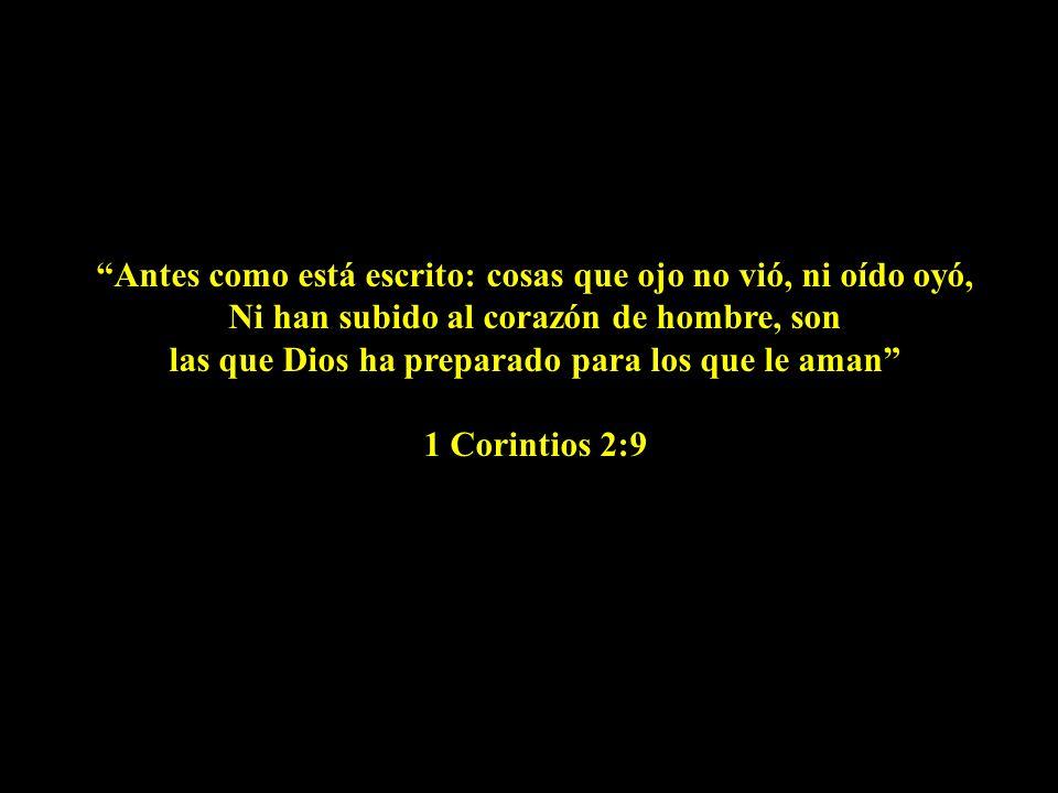 Antes como está escrito: cosas que ojo no vió, ni oído oyó, Ni han subido al corazón de hombre, son las que Dios ha preparado para los que le aman 1 Corintios 2:9