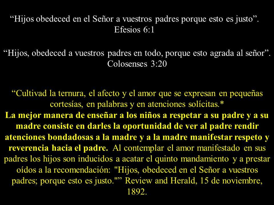 Hijos obedeced en el Señor a vuestros padres porque esto es justo. Efesios 6:1 Cultivad la ternura, el afecto y el amor que se expresan en pequeñas co