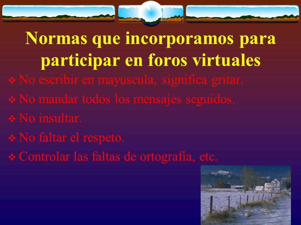 Normas que incorporamos para participar en foros virtuales No escribir en mayuscula, significa gritar. No mandar todos los mensajes seguidos. No insul