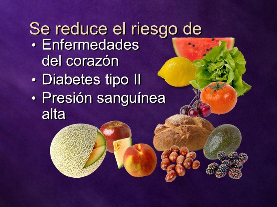 Se reduce el riesgo de Enfermedades del corazón Diabetes tipo II Presión sanguínea alta Enfermedades del corazón Diabetes tipo II Presión sanguínea al