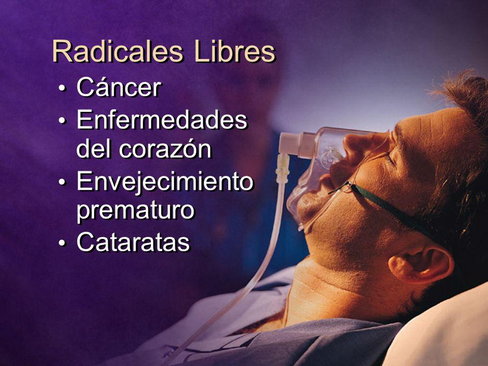 Radicales Libres Cáncer Enfermedades del corazón Envejecimiento prematuro Cataratas Cáncer Enfermedades del corazón Envejecimiento prematuro Cataratas