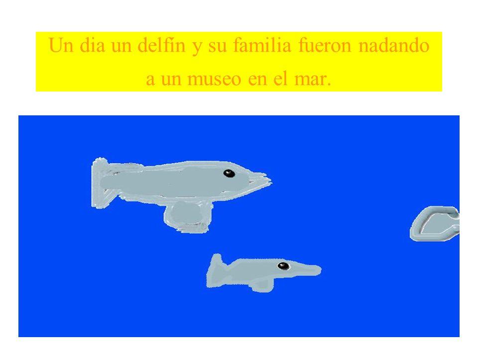 El delfín fue a ver algo interesante en el museo y cuando quiso buscar a su familia, su familia ya no estaba.