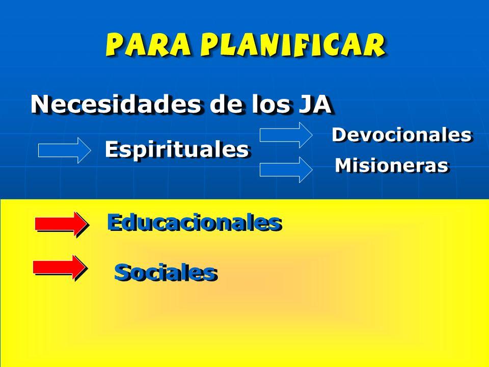 para planificar Necesidades de los JA Espirituales Devocionales Misioneras Educacionales Sociales