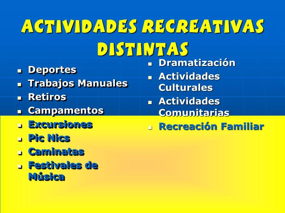 actividades recreativas distintas Deportes Deportes Trabajos Manuales Trabajos Manuales Retiros Retiros Campamentos Campamentos Excursiones Excursione