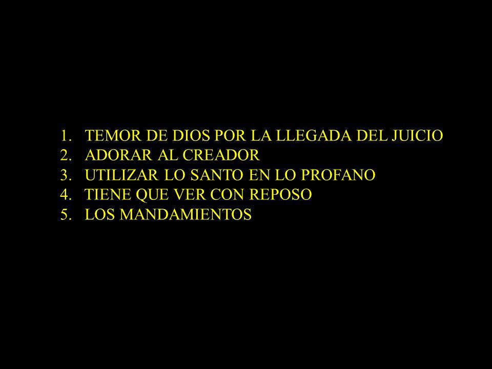 1.TEMOR DE DIOS POR LA LLEGADA DEL JUICIO 2.ADORAR AL CREADOR 3. UTILIZAR LO SANTO EN LO PROFANO 4. TIENE QUE VER CON REPOSO 5. LOS MANDAMIENTOS