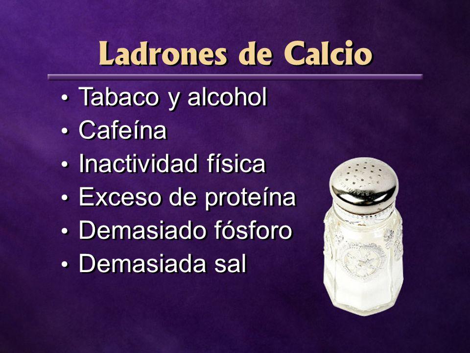 Ladrones de Calcio Tabaco y alcohol Cafeína Inactividad física Exceso de proteína Demasiado fósforo Demasiada sal