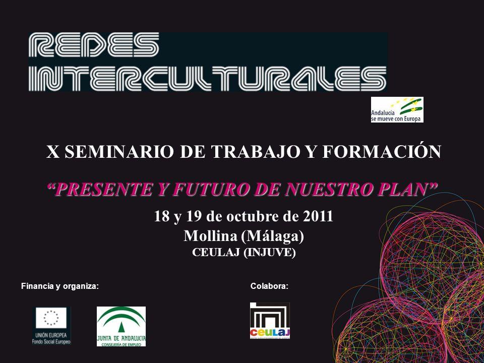 X SEMINARIO DE TRABAJO Y FORMACIÓN PRESENTE Y FUTURO DE NUESTRO PLAN PRESENTE Y FUTURO DE NUESTRO PLAN 18 y 19 de octubre de 2011 Mollina (Málaga) CEULAJ (INJUVE) Financia y organiza: Colabora: