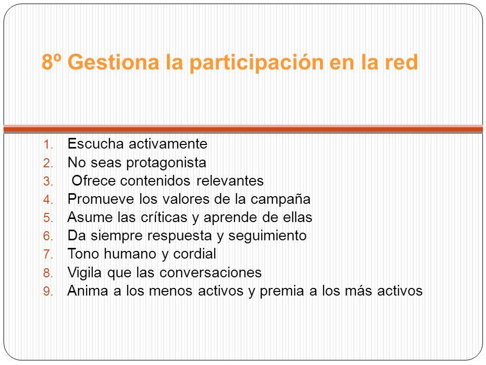 8º Gestiona la participación en la red 1. Escucha activamente 2.