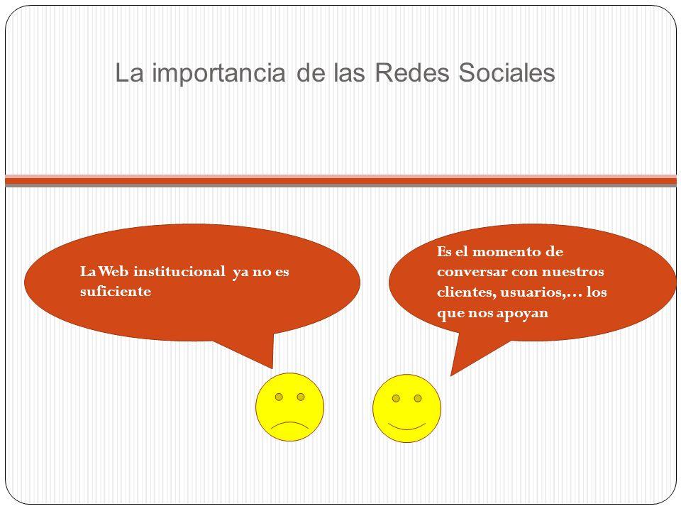 La importancia de las Redes Sociales Es el momento de conversar con nuestros clientes, usuarios,… los que nos apoyan La Web institucional ya no es suficiente