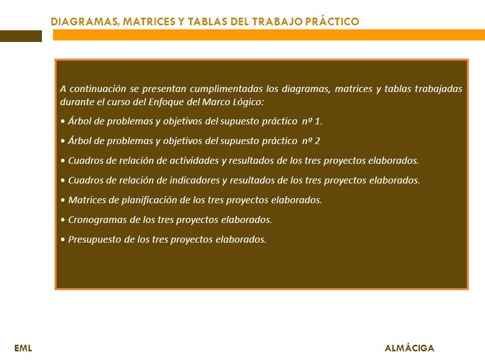 DIAGRAMAS, MATRICES Y TABLAS DEL TRABAJO PRÁCTICO EML ALMÁCIGA A continuación se presentan cumplimentadas los diagramas, matrices y tablas trabajadas