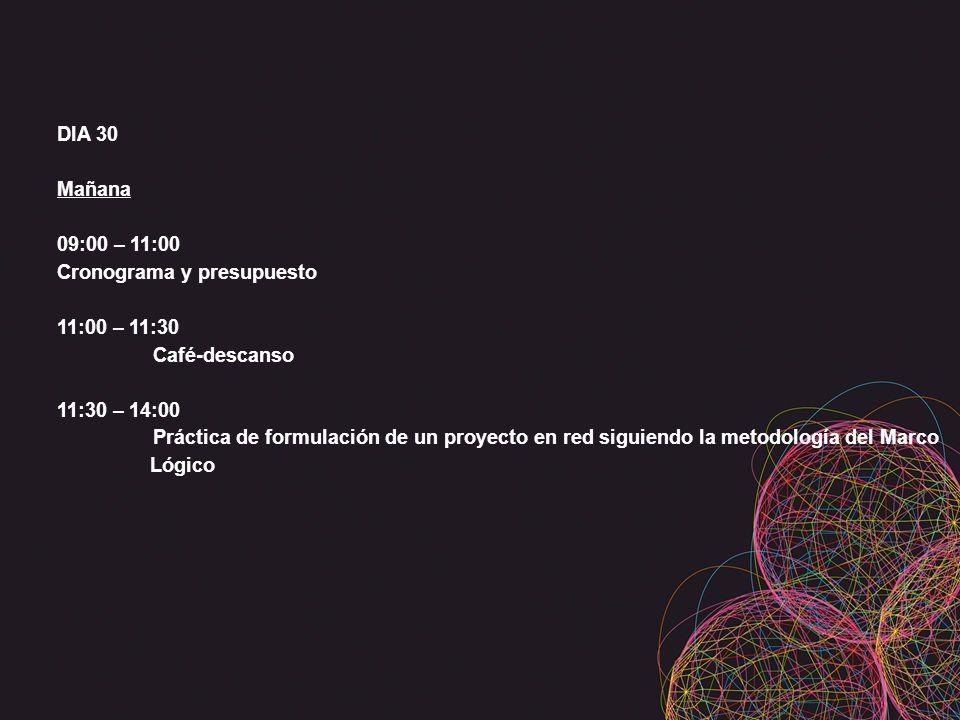 DIA 30 Mañana 09:00 – 11:00 Cronograma y presupuesto 11:00 – 11:30 Café-descanso 11:30 – 14:00 Práctica de formulación de un proyecto en red siguiendo la metodología del Marco Lógico
