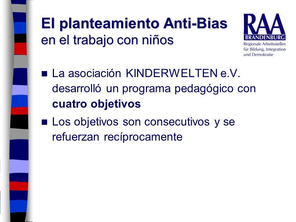 El planteamiento Anti-Bias en el trabajo con niños La asociación KINDERWELTEN e.V. desarrolló un programa pedagógico con cuatro objetivos Los objetivo