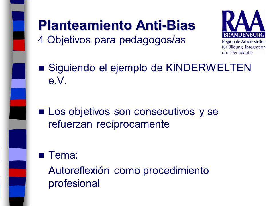Planteamiento Anti-Bias Planteamiento Anti-Bias 4 Objetivos para pedagogos/as Siguiendo el ejemplo de KINDERWELTEN e.V. Los objetivos son consecutivos