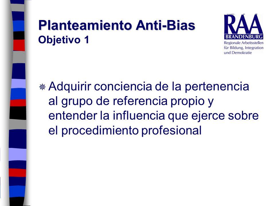 Planteamiento Anti-Bias Planteamiento Anti-Bias Objetivo 1 Adquirir conciencia de la pertenencia al grupo de referencia propio y entender la influenci