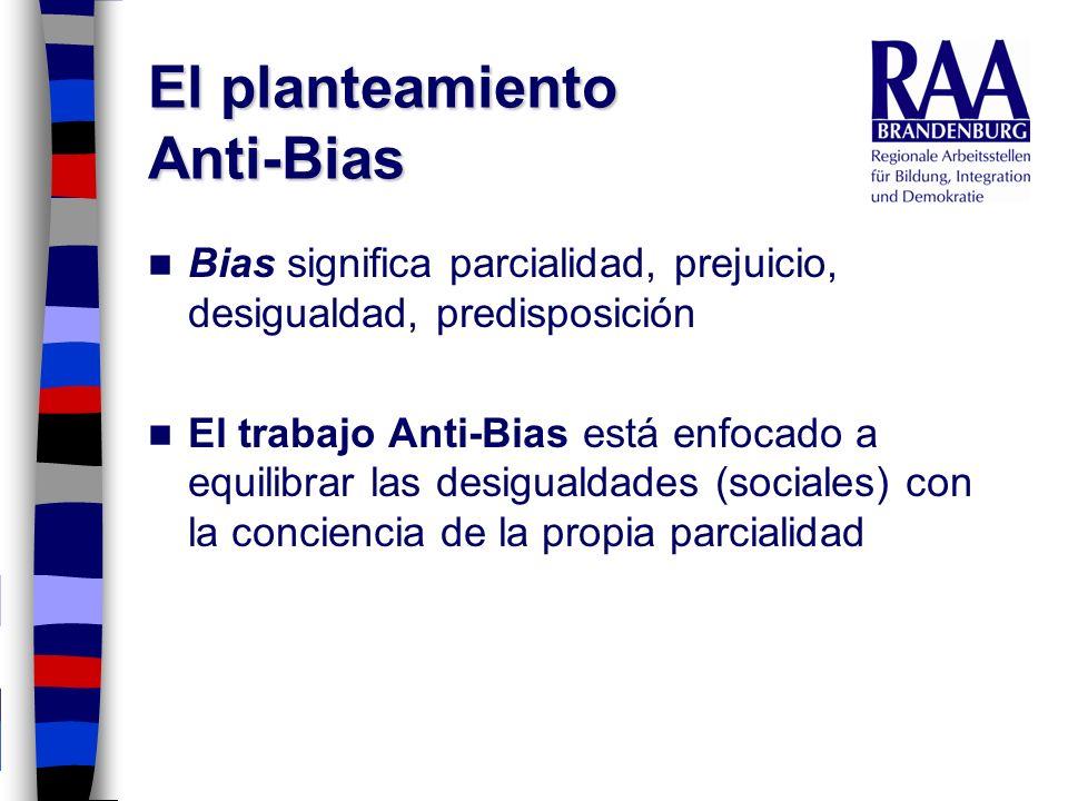 El planteamiento Anti-Bias Bias significa parcialidad, prejuicio, desigualdad, predisposición El trabajo Anti-Bias está enfocado a equilibrar las desi