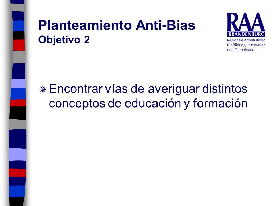 Planteamiento Anti-Bias Objetivo 2 Encontrar vías de averiguar distintos conceptos de educación y formación