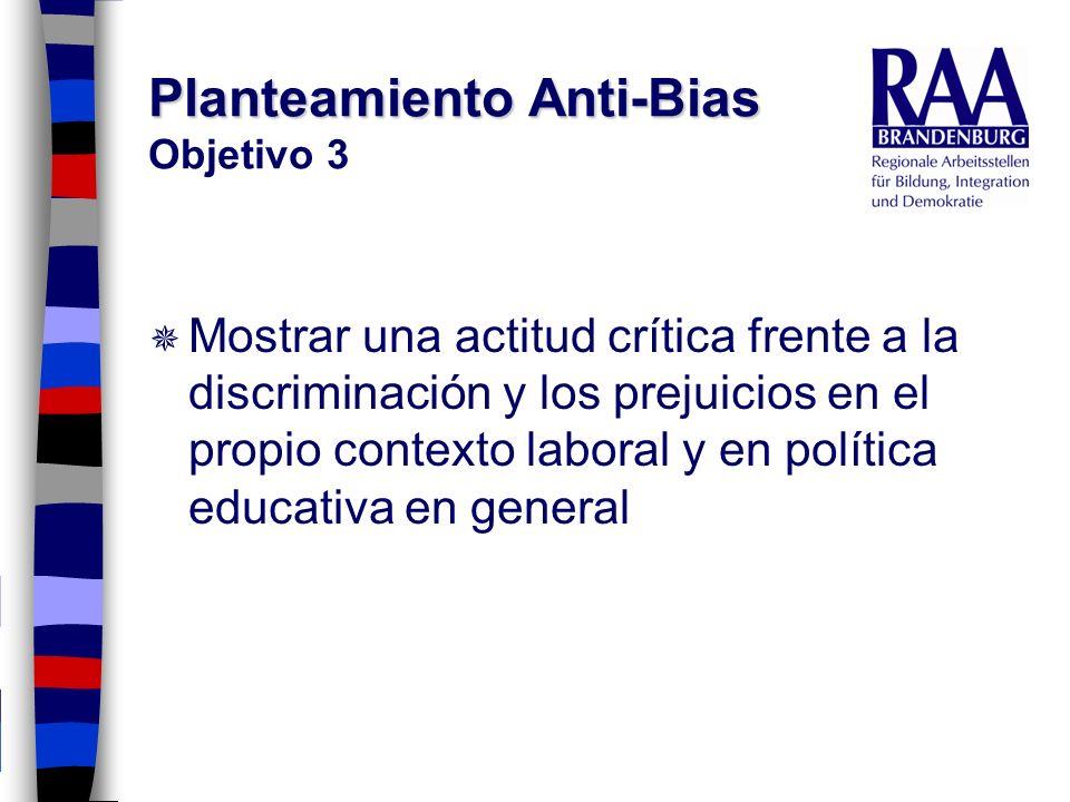 Planteamiento Anti-Bias Planteamiento Anti-Bias Objetivo 3 Mostrar una actitud crítica frente a la discriminación y los prejuicios en el propio contex