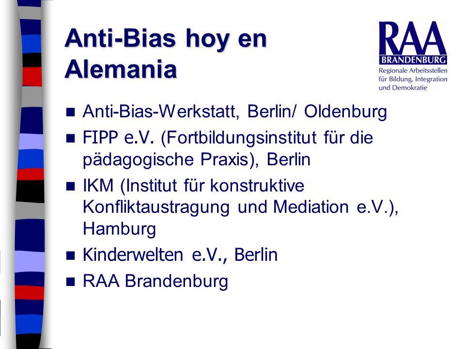 Anti-Bias hoy en Alemania Anti-Bias-Werkstatt, Berlin/ Oldenburg FIPP e.V. (Fortbildungsinstitut für die pädagogische Praxis), Berlin IKM (Institut fü