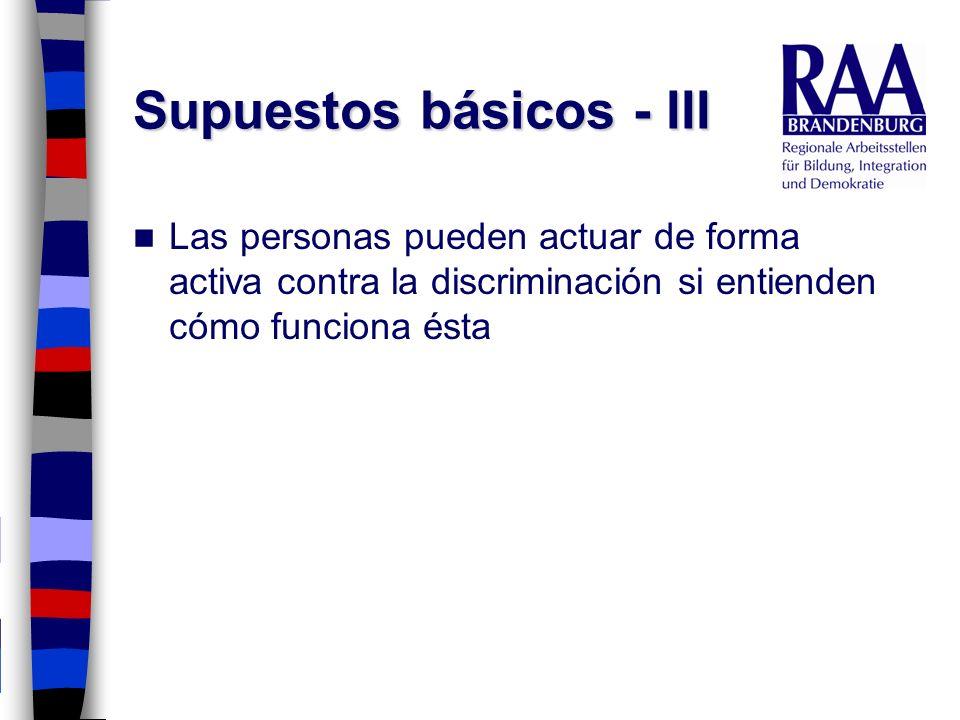 Supuestos básicos - III Las personas pueden actuar de forma activa contra la discriminación si entienden cómo funciona ésta