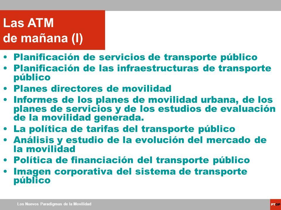 Los Nuevos Paradigmas de la Movilidad Planificación de servicios de transporte público Planificación de las infraestructuras de transporte público Pla