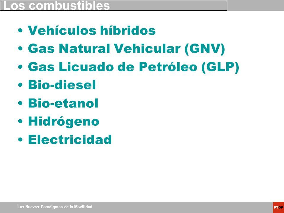 Los Nuevos Paradigmas de la Movilidad Los combustibles Vehículos híbridos Gas Natural Vehicular (GNV) Gas Licuado de Petróleo (GLP) Bio-diesel Bio-eta