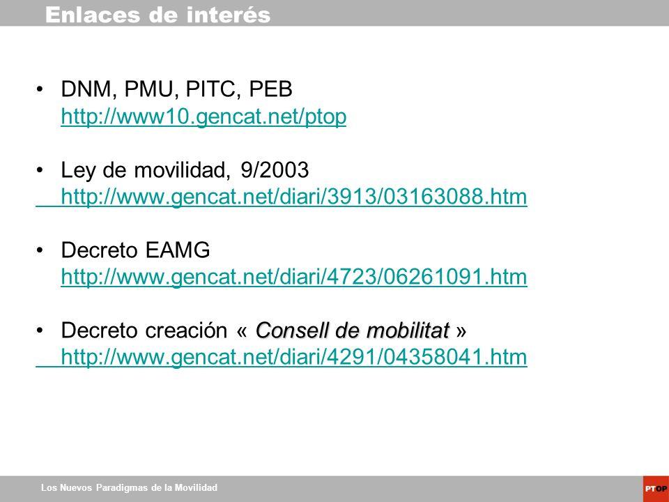Los Nuevos Paradigmas de la Movilidad Enlaces de interés DNM, PMU, PITC, PEB http://www10.gencat.net/ptop Ley de movilidad, 9/2003 http://www.gencat.n