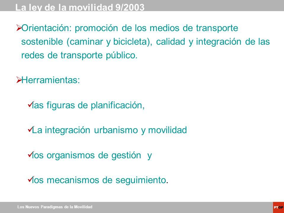 Los Nuevos Paradigmas de la Movilidad Orientación: promoción de los medios de transporte sostenible (caminar y bicicleta), calidad y integración de la
