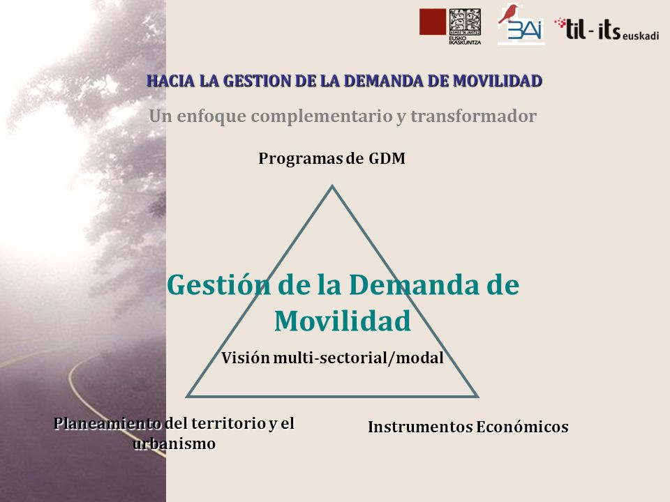 Un enfoque complementario y transformador HACIA LA GESTION DE LA DEMANDA DE MOVILIDAD Programas de GDM Planeamiento del territorio y el urbanismo Instrumentos Económicos Visión multi-sectorial/modal Gestión de la Demanda de Movilidad