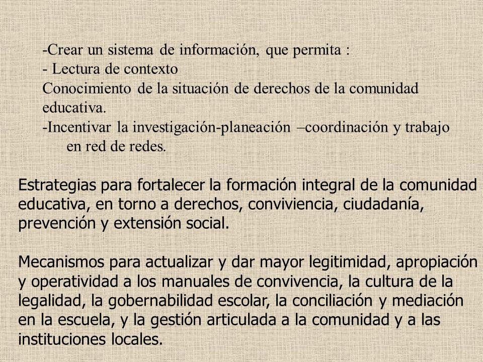 -Crear un sistema de información, que permita : - Lectura de contexto Conocimiento de la situación de derechos de la comunidad educativa. -Incentivar