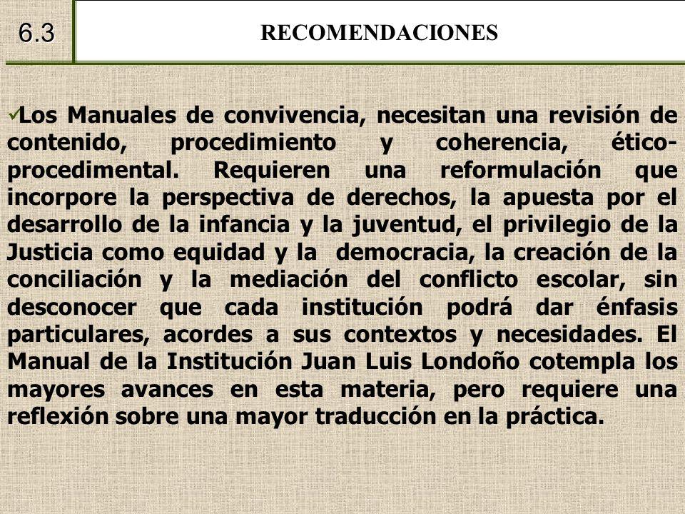RECOMENDACIONES 6.3 Los Manuales de convivencia, necesitan una revisión de contenido, procedimiento y coherencia, ético- procedimental. Requieren una