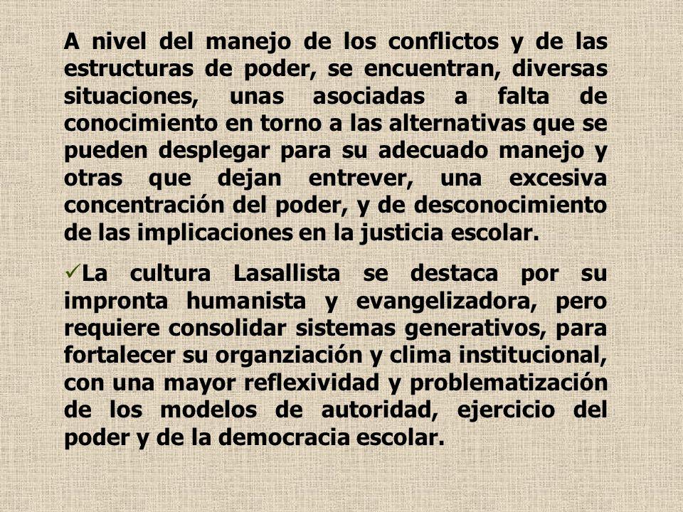 A nivel del manejo de los conflictos y de las estructuras de poder, se encuentran, diversas situaciones, unas asociadas a falta de conocimiento en tor